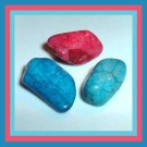 41.88ctw Lot of 3 Red Blue Turquoise dyed AGATE Tumbled and Polished Stones