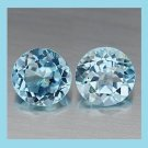 1.78ctw Pair of 2 SWISS BLUE TOPAZ Round Faceted Natural Loose Gemstones