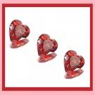 1.30ctw Lot of 3 Red Rhodolite GARNET Heart 4x4mm Faceted Natural Loose Gemstones