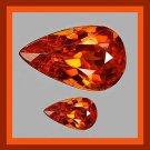 0.68ctw Lot of 2 Dark Orange SPESSARTITE MANDARIN GARNET Pear Faceted Natural Loose Gemstones