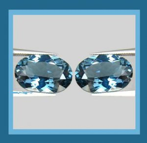 2.24ctw Pair of 2 LONDON BLUE TOPAZ Oval Cut 7x5mm Faceted Natural Loose Gemstones