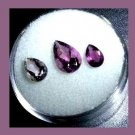 1.70ctw Lot of 3 Purple AMETHYST Pear Cut Faceted Natural Loose Gemstones