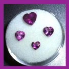 1.73ctw Lot of 4 Grape Purple AMETHYST Heart Shape Faceted Natural Loose Gemstones