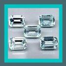 3.87ctw Lot of 5 AQUAMARINE Emerald Cut Faceted Natural Loose Gemstones