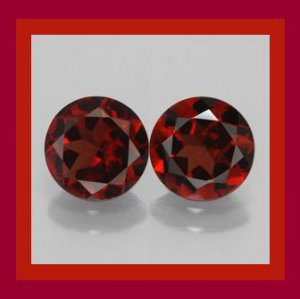 2.40ctw Pair of 2 Red GARNET Round Cut 7mm Faceted Natural Loose Gemstones