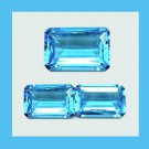 2.00ctw Lot of 3 SWISS BLUE TOPAZ Emerald Cut Faceted Natural Loose Gemstones