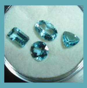 2.45ctw Lot of 4 LONDON BLUE TOPAZ Mixed Shapes Faceted Natural Loose Gemstones