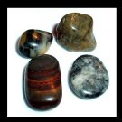 Lot of 4 Gray and Brown AGATE Tumbled and Polished Natural Loose Stones