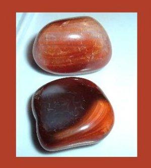 Lot of 2 Dark Brown Orange Peach CARNELIAN Tumbled and Polished Natural Loose Gemstones
