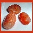 Lot of 3 Bright Orange CARNELIAN Tumbled and Polished Natural Loose Gemstones