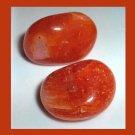 Lot of 2 Flaming Orange CARNELIAN Tumbled and Polished Natural Loose Gemstones