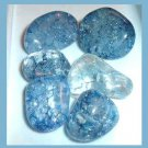 LOT of 6 Dyed BLUE CRACKLE QUARTZ Tumbled and Polished Natural Loose Gemstones