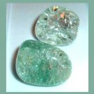 LOT of 2 Dyed GREEN CRACKLE QUARTZ Tumbled and Polished Natural Loose Gemstones