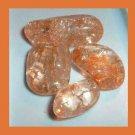 LOT of 4 Dyed ORANGE CRACKLE QUARTZ Tumbled and Polished Natural Loose Gemstones