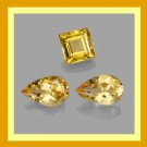 2.45ctw Lot of 3 Yellow Orange CITRINE Pear and Square Cut Faceted Natural Loose Gemstones