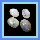 9.45ctw Lot of 4 Snowy White Rainbow MOONSTONE Oval Cabochon Natural Loose Gemstones