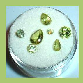 2.60ctw Lot of 7 Green PERIDOT Round and Pear Cut Faceted Natural Loose Gemstones