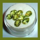 6.85ctw Lot of 8 Green PERIDOT Pear Oval Round Cut Faceted Natural Loose Gemstones