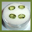 3.70ctw Lot of 4 Green PERIDOT Oval Cut 7x5mm Faceted Natural Loose Gemstones