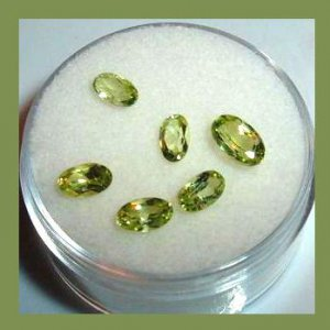 1.90ctw Lot of 6 Green PERIDOT Oval Cut  Faceted Natural Loose Gemstones