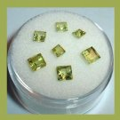 1.95ctw Lot of 7 Green PERIDOT Square Cut Faceted Natural Loose Gemstones