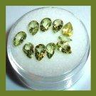 3.80ctw Lot of 10 Green PERIDOT Pear Cut Faceted Natural Loose Gemstones