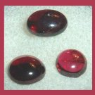 4.70ctw Lot of 3 Garnet Round and Oval Simulated Cabochon Loose Gemstones