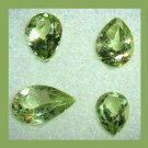 2.95ctw Lot of 4 Green PERIDOT Pear Cut Faceted Natural Loose Gemstones