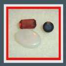 0.85ctw Mixed Lot of 3 Natural Loose Gemstones, Red Zircon, White Opal, Blue Sapphire