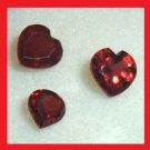 1.71ctw Lot of 3 Red GARNET Heart Shape Faceted Natural Loose Gemstones