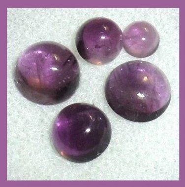 4.35ctw Lot of 5 Grape Violet Purple AMETHYST Round Cabochon Natural Loose Gemstones