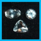 1.10ctw Lot of 3 WHITE TOPAZ Trillion Round Oval Cut Faceted Natural Loose Gemstones