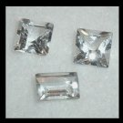 1.80ctw Lot of 3 WHITE TOPAZ Baguette Square Cut Faceted Natural Loose Gemstones