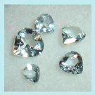 0.70ctw Lot of 5 Light Blue AQUAMARINE Heart Shape Faceted Natural Loose Gemstones