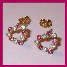 Red and White Rhinestone Heart Shape Yellow Gold Post Earrings