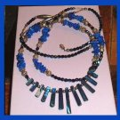 "Blue Stones, Carnival Beads, Abalone Shell 22"" inch Sterling Silver Necklace"