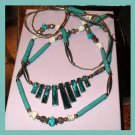 Turquoise, Abalone, White Shell, Silver Beads, Double Strand Sterling Silver Necklace