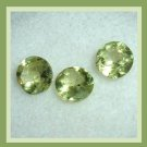 1.20ctw Lot of 3 Green PERIDOT Round Cut Faceted Natural Loose Gemstones