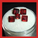 3.40ctw Lot of 5 Red GARNET Square Cut Faceted Natural Loose Gemstones