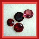 2.20ctw Lot of 4 Red GARNET Round Cut Faceted Natural Loose Gemstones