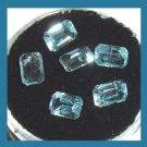 4.15ctw Lot of 6 Light Blue AQUAMARINE 5x3mm Emerald Cut Faceted Natural Loose Gemstones