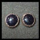 Vintage Black Titanium Druzy Sterling Silver Post Earrings