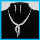 White Rhinestone Waterfall Necklace and Dangle Post Earrings Silver-Gilt Set