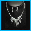 White Rhinestone Icecicles Shape Necklace and Dangle Post Earrings Silver-Gilt Set
