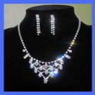 White Rhinestone 3 Tier Necklace and Chandelier Earrings Silver-Gilt Set