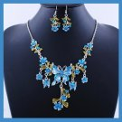 Blue Acrylic BUTTERFLY Necklace and Dangle Hook Earrings Silver-Gilt Set