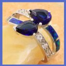 Blue and White Topaz and Australian Opal 925 Sterling Silver Ring