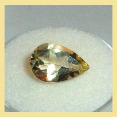 2.75ct GOLDEN YELLOW BERYL Pear Cut 12x9mm Faceted Natural Loose Gemstone