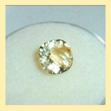 1.35ct GOLDEN YELLOW BERYL Cushion Cut 7x7mm Faceted Natural Loose Gemstone