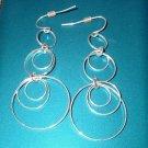 Chandelier Sterling Silver 3 Ring Circle Dangle Hook Earrings
